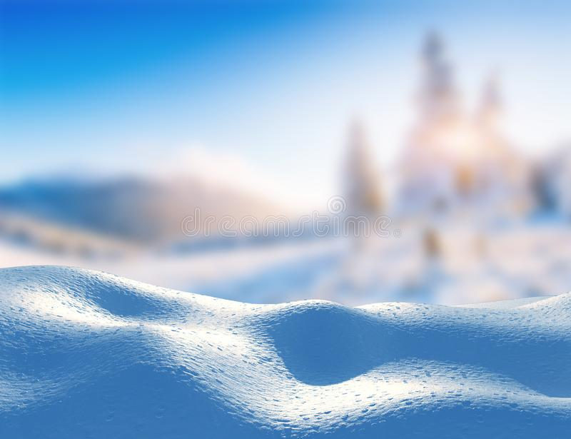 Snowdrift landscape majestic mountains in winter. Magical winter snow covered tree. In anticipation of the holiday. Dramatic wintry scene. Carpathian. Ukraine royalty free stock images