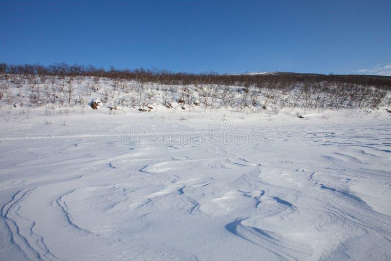Snowdrift på djupfrysta flodstränder royaltyfri fotografi