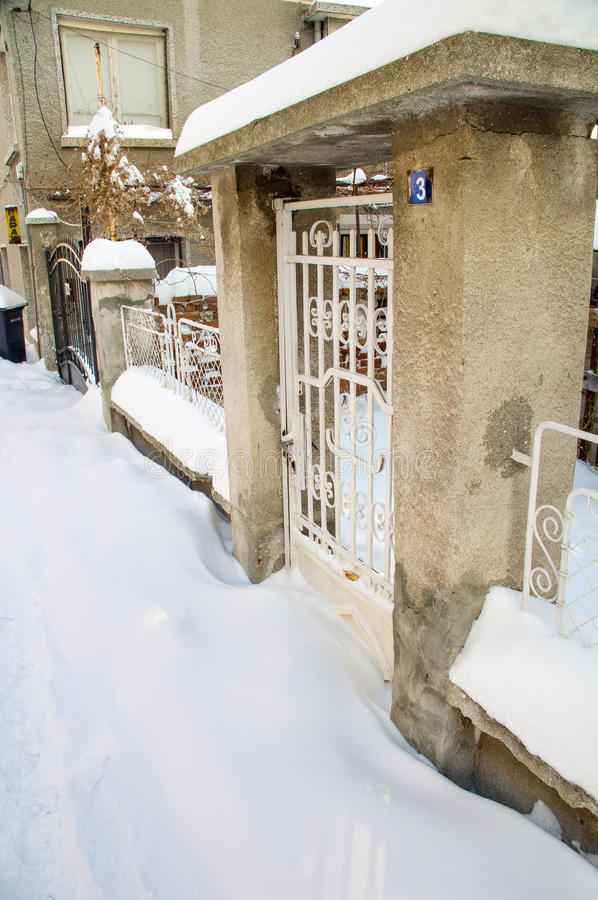 Snowdrifts at the entrance gate to the city of the estate of Pomorie, Bulgaria Winter royalty free stock photo