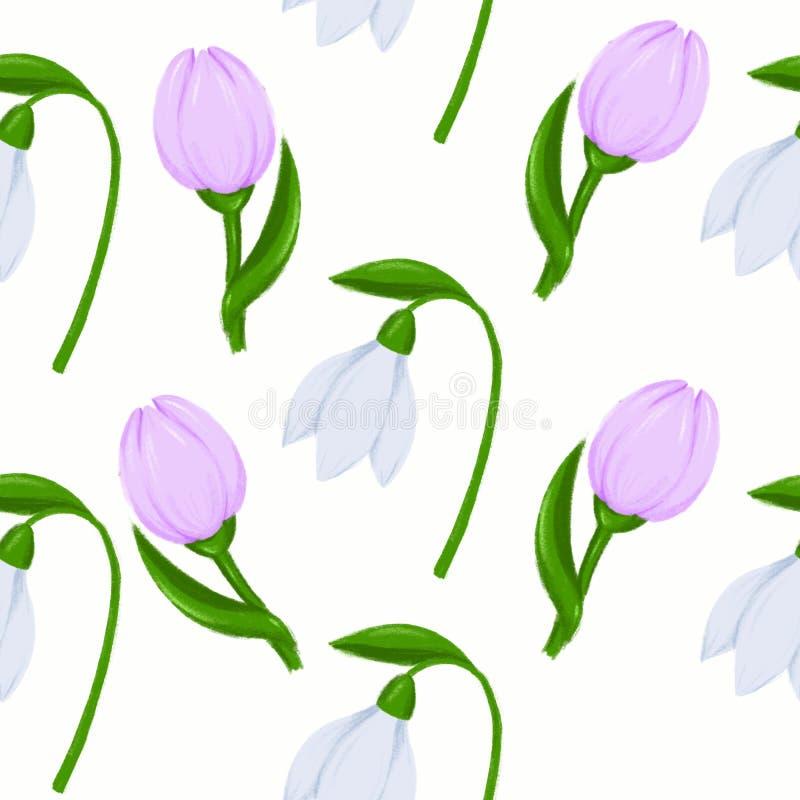 Snowdrop del modelo de la primavera y bosquejo inconsútiles de la flor del azafrán para el ejemplo de la moda, impresión, cartel, libre illustration