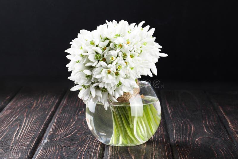 snowdrops花束在花瓶的 库存图片