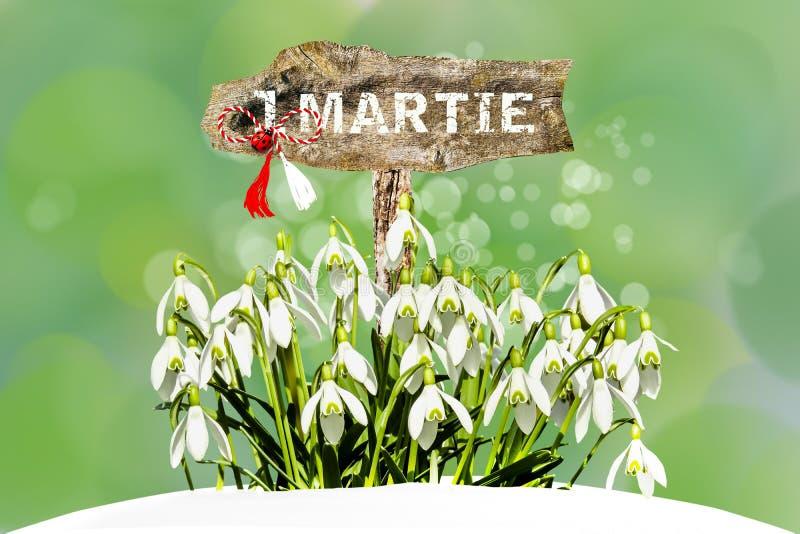 Snowdrops blancos y símbolo tradicional rumano de la primavera imagenes de archivo