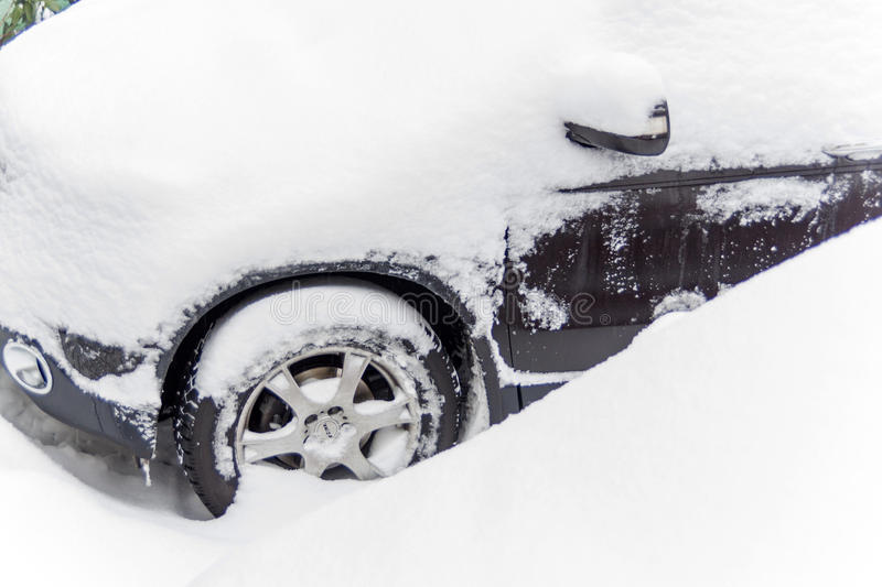 Snowed car royalty free stock photography