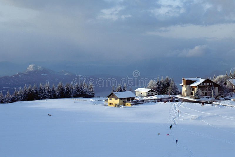 Snowed mountains and Bourget lake in Le Sire. France. Overview of snowed mountains and Bourget lake in Le Sire. Ski resort in Savoy, France stock image