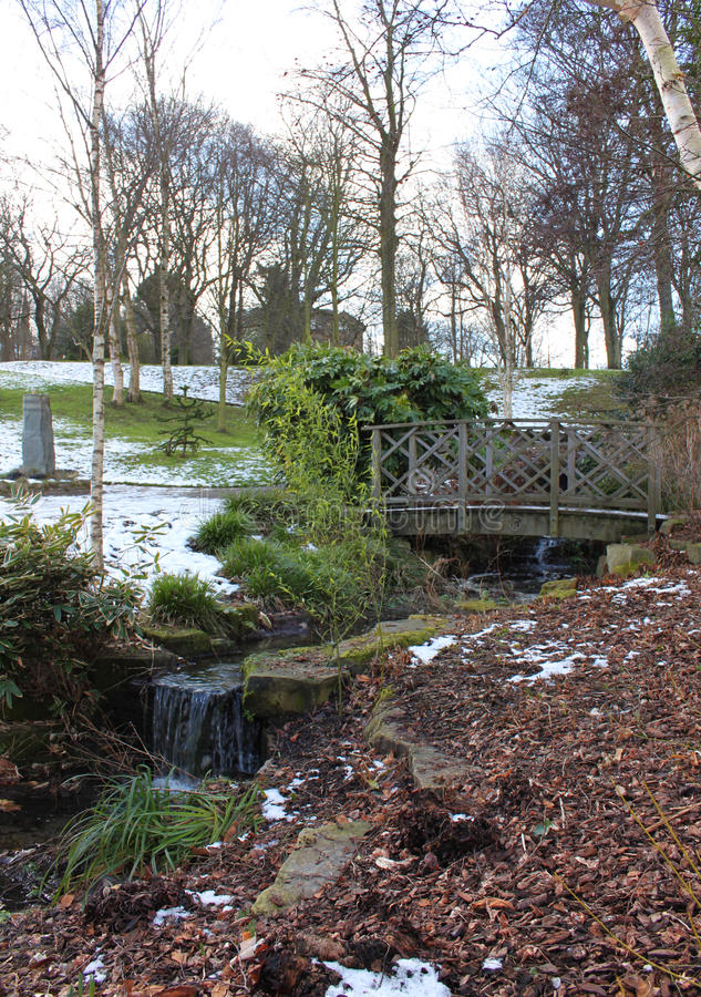 Snowed Public Lister Park in Bradford England stock photography
