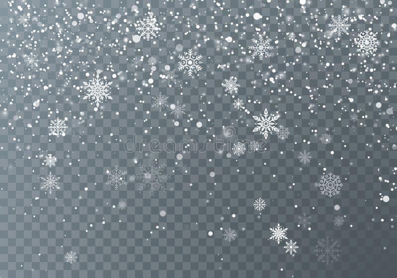 snowfall Święta śnieżni Spada płatek śniegu na ciemnym przejrzystym tle Xmas wakacje tło również zwrócić corel ilustracji wektora ilustracja wektor