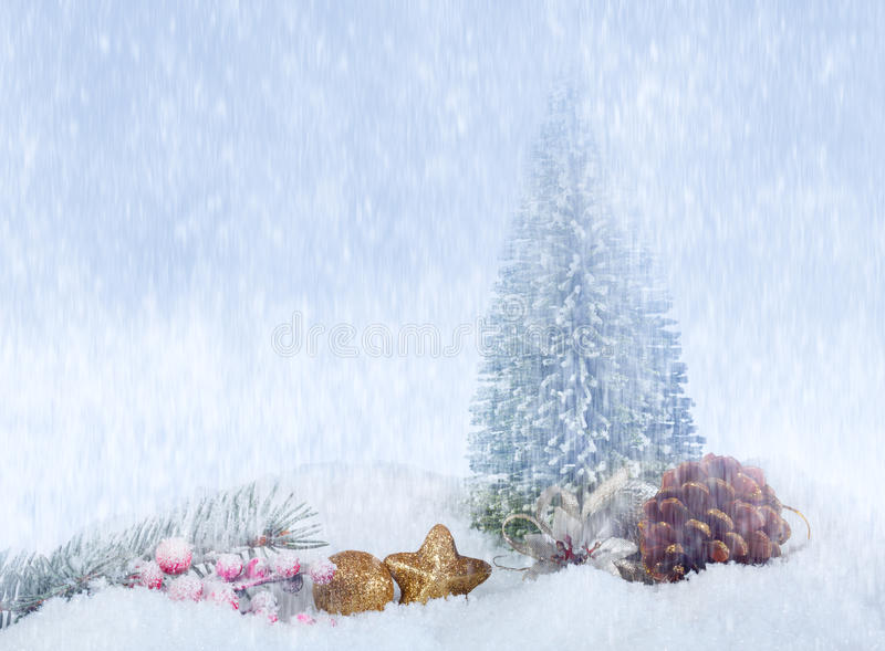 Snowfall. Abstract Christmas background, a New Year concept stock photography