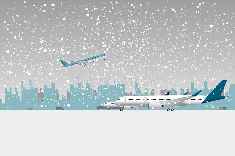 Snowfall in airport. Aircraft under snow. Flat vector illustration stock illustration