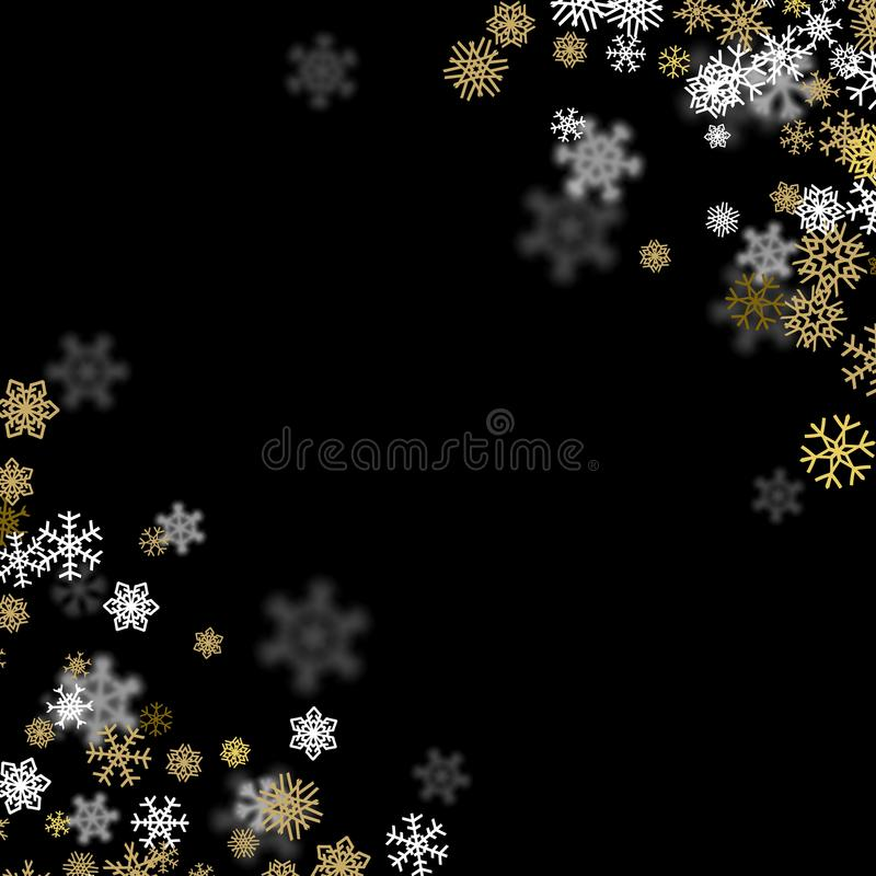 Snowfall background with golden snowflakes blurred in the dark. Snowfall background with golden snowflakes blurred in perspective vector illustration
