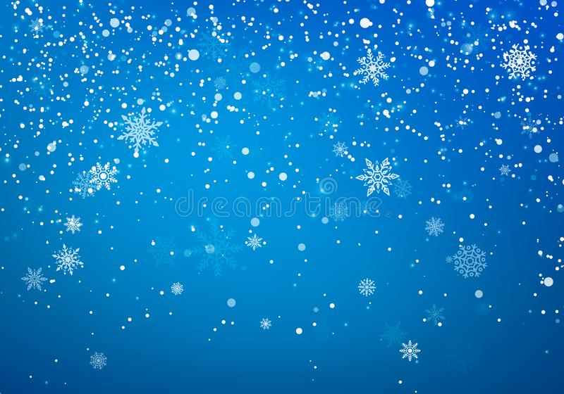 Snowfall Christmas background. Flying snow flakes and stars on winter blue sky background. Winter wite snowflake overlay template. Vector illustration royalty free illustration