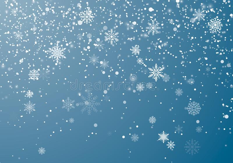 Snowfall Christmas background. Flying snow flakes and stars on winter sky background. Winter wite snowflake overlay template vector illustration