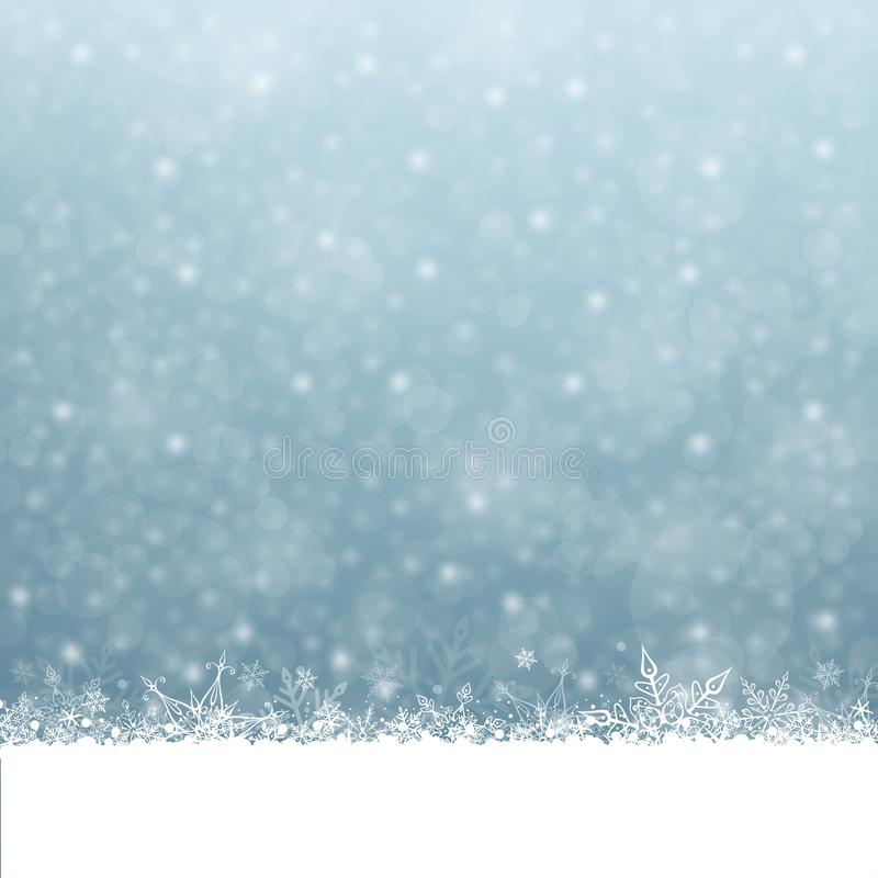 Snowfall Christmas and New Year Winter Blue GrayBackground stock illustration