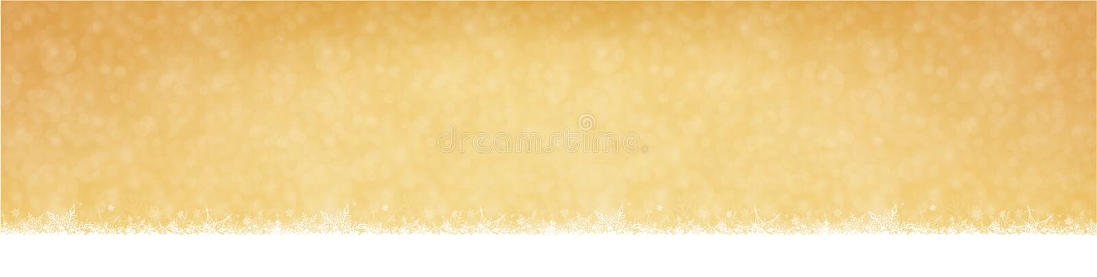 Snowfall Christmas and New Year Winter Golden Background stock illustration