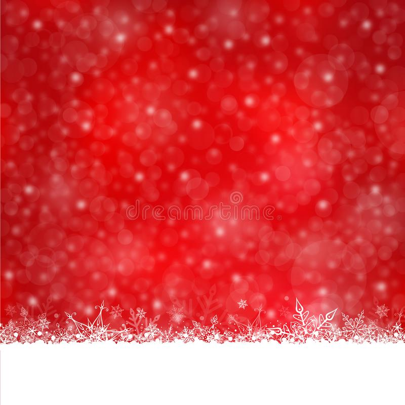 Snowfall Christmas and New Year Winter Red Background vector illustration