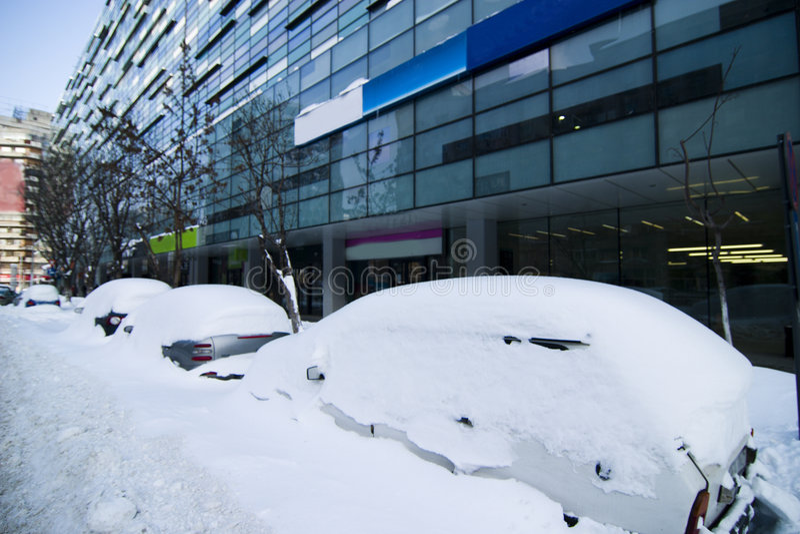 Snowfall consequences stock photography
