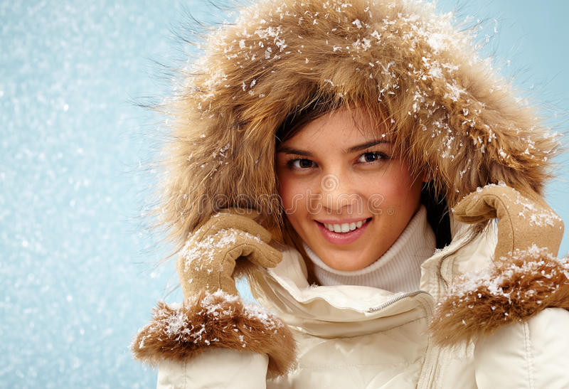 Snowfall girl royalty free stock photo