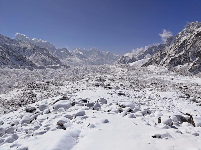 Snowfall Himalayas. Himalayan mountains at the morning after recent snowfall. White silence, absolute quiet; tranquility and calm concept royalty free stock photos
