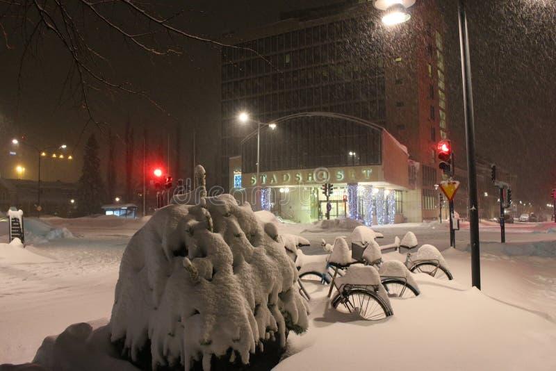 Snowfall on Main Street royalty free stock photography