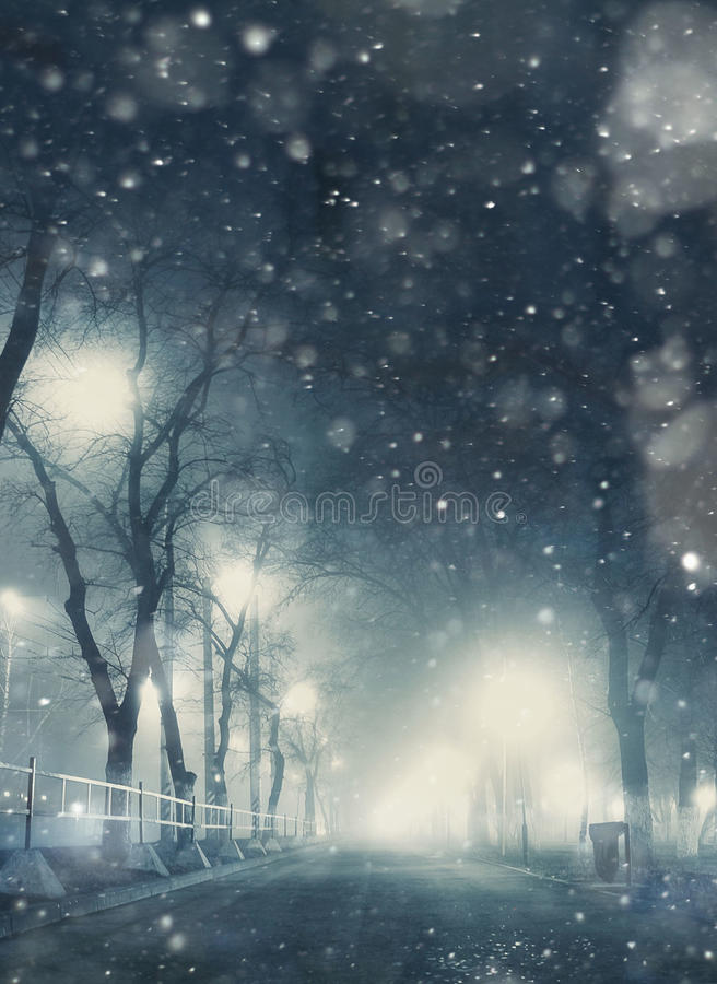 Snowfall night in town royalty free stock photography