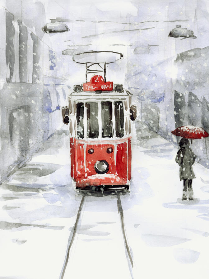 Snowfall and old tram. Painting - Snowfall and old tram stock illustration