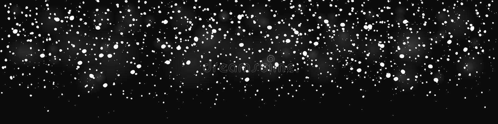 Falling snow seamless banner for winter decorations royalty free illustration
