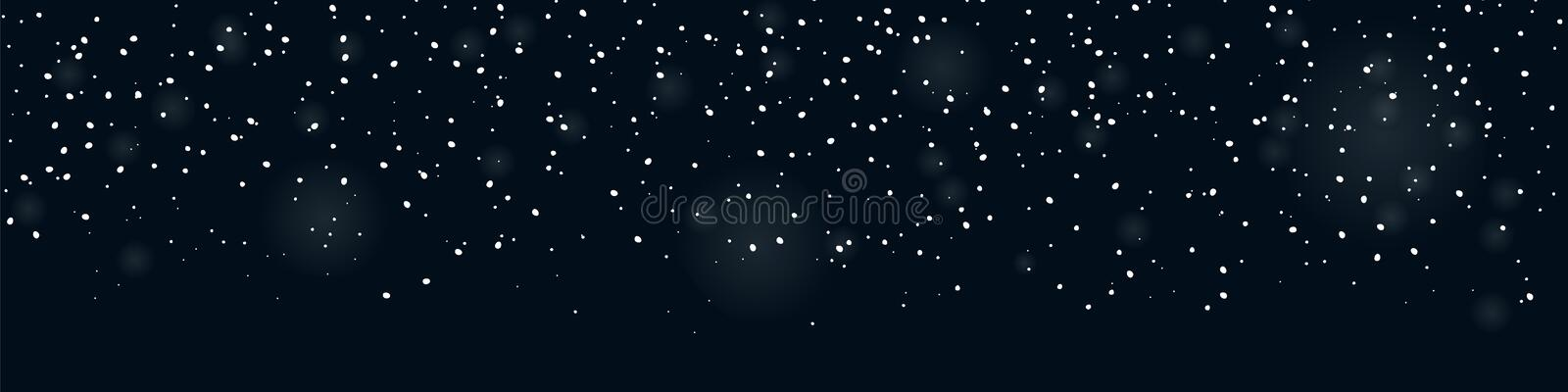 Falling snow seamless banner for winter decorations. Snowfall overlay. Falling snow seamless banner for winter decorations vector illustration