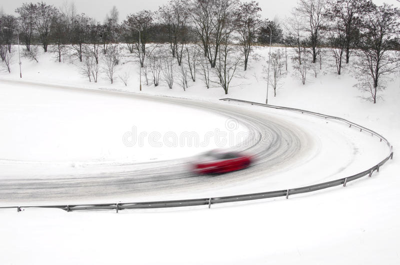 Download Snowfall on the road stock image. Image of scenic, line - 23256371