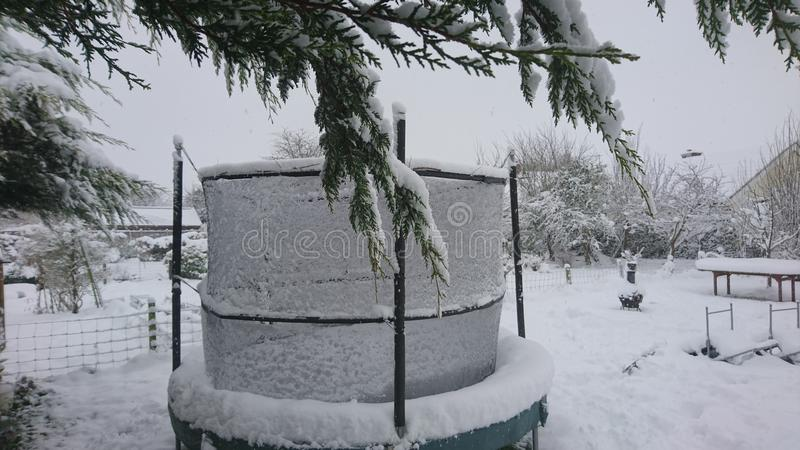 Snow on a trampoline in the back garden with overhanging branches. Snowfall snowflakes white lying overhanging branches green dripping coated grass lawn yard stock photo