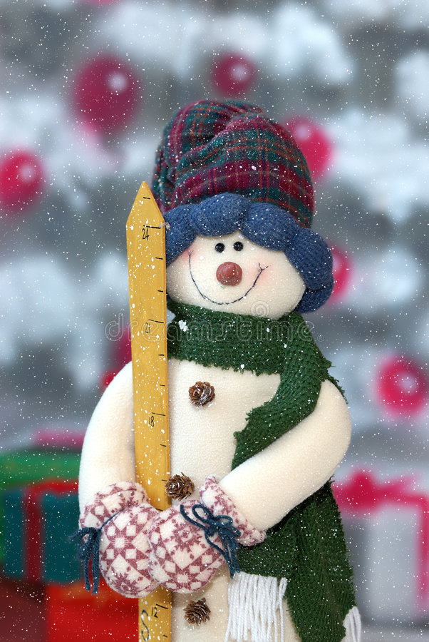 snowfallsnowman arkivfoto