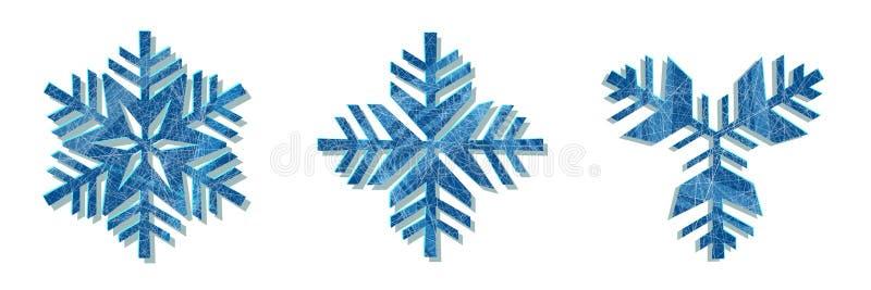 Snowflake διανυσματικό καθορισμένο άσπρο χρώμα υποβάθρου εικονιδίων Στοιχείο κρυστάλλου νιφάδων χιονιού χειμερινών μπλε Χριστουγέ απεικόνιση αποθεμάτων