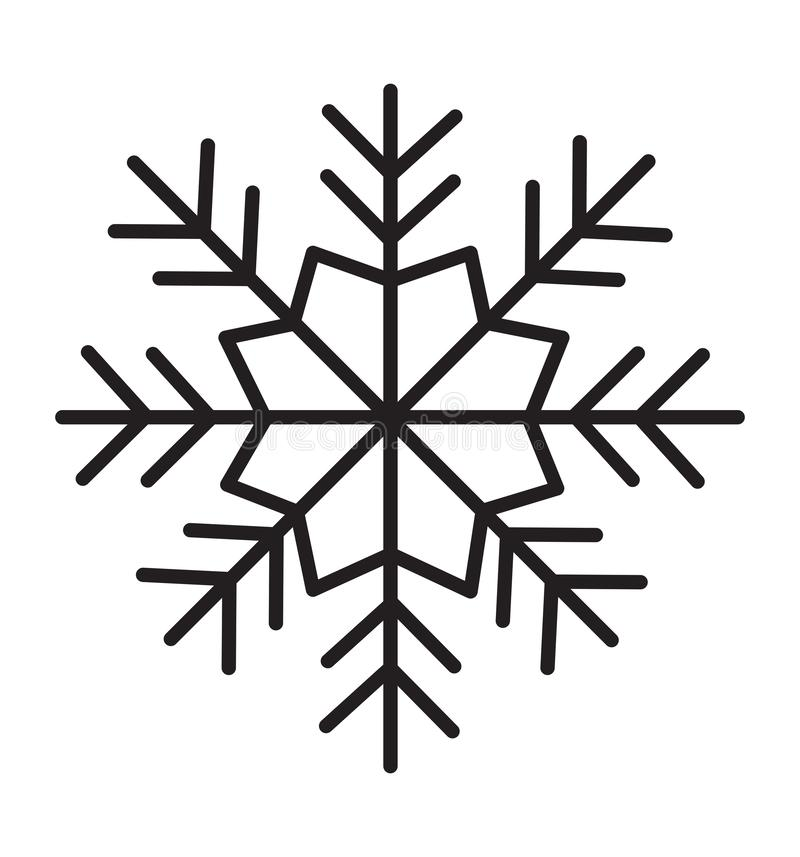 Snowflake επίπεδη διανυσματική απεικόνιση σκιαγραφιών εικονιδίων στο άσπρο υπόβαθρο ελεύθερη απεικόνιση δικαιώματος