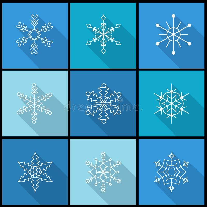 Snowflake επίπεδα εικονίδια με τη μακριά σκιά ελεύθερη απεικόνιση δικαιώματος