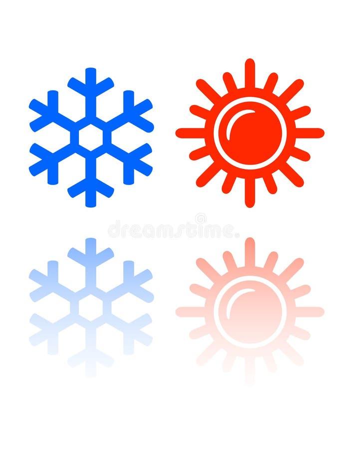 Snowflake και ήλιων σύμβολα ελεύθερη απεικόνιση δικαιώματος
