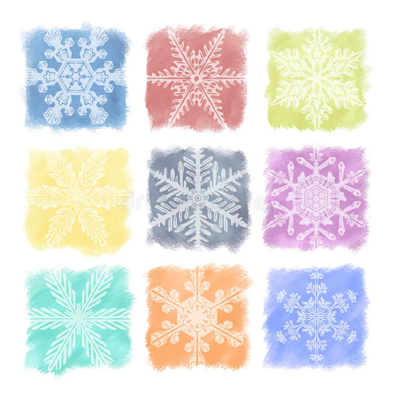 Snowflake κρητιδογραφίες καθορισμένες απεικόνιση αποθεμάτων