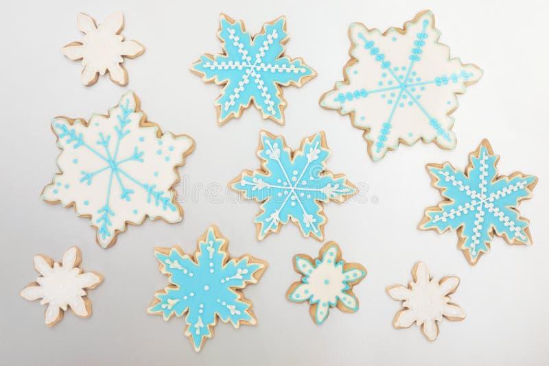 Snowflake μελοψωμάτων μπισκότα στοκ εικόνες