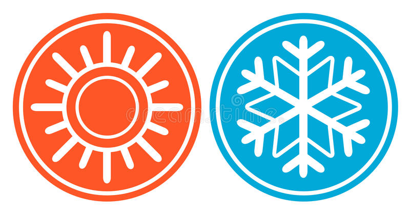 Snowflake με τον ήλιο - συγκεκριμένο εικονίδιο εποχής ελεύθερη απεικόνιση δικαιώματος