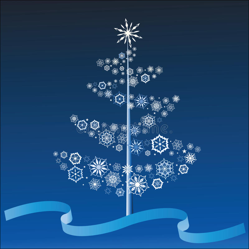 snowflake Χριστουγέννων δέντρο διανυσματική απεικόνιση