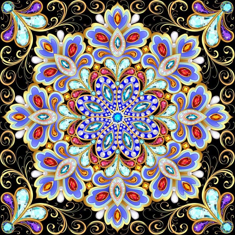 Snowflake Χριστουγέννων κρύσταλλο πολύτιμο Όμορφο κόσμημα διανυσματική απεικόνιση