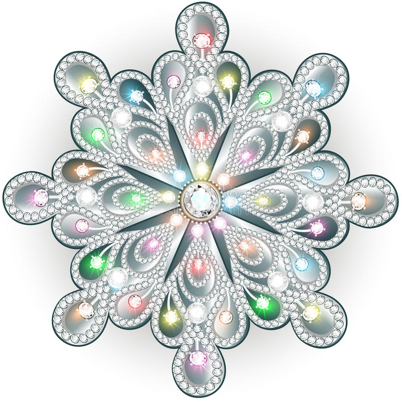 Snowflake Χριστουγέννων κρύσταλλο πολύτιμο Όμορφο κόσμημα, medalli διανυσματική απεικόνιση