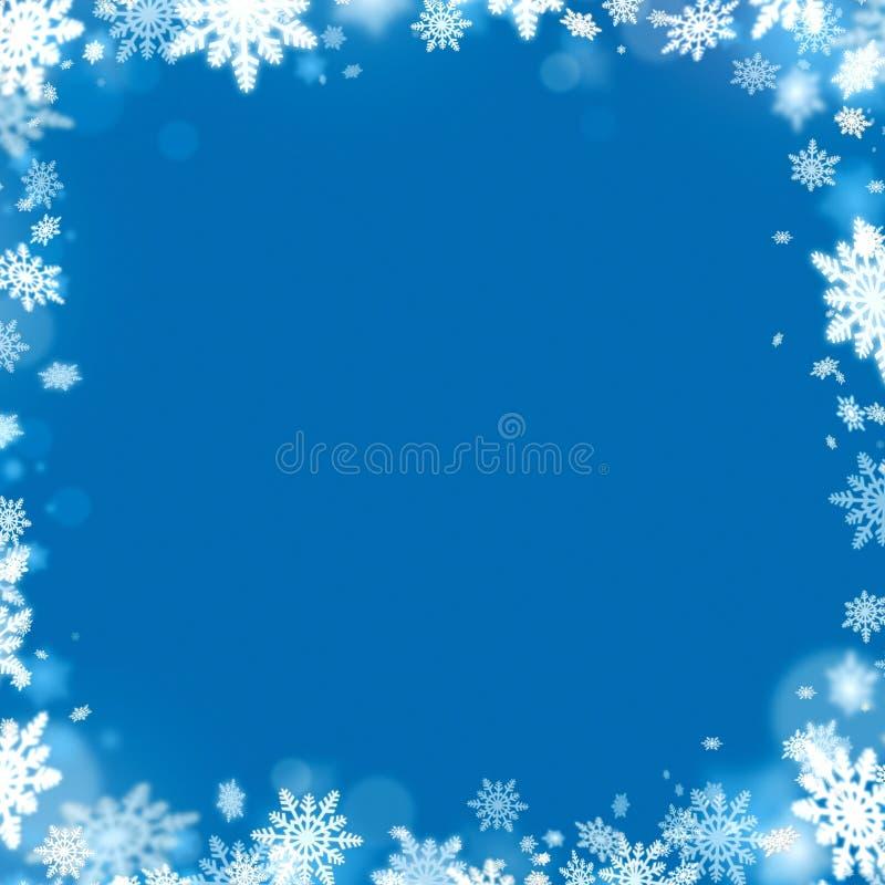 Snowflake Χριστουγέννων πλαίσιο και μπλε υπόβαθρο διανυσματική απεικόνιση