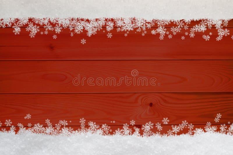 Snowflake Χριστουγέννων σύνορα στο κόκκινο ξύλο ελεύθερη απεικόνιση δικαιώματος