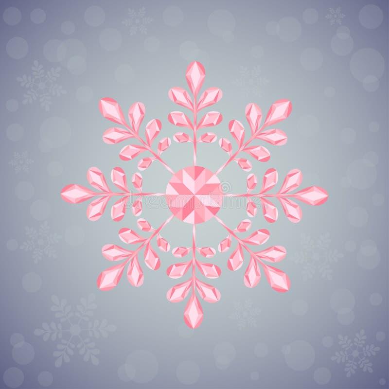 Snowflake Χριστουγέννων των γεωμετρικών μορφών Σημάδι ρόδινο snowflake διανυσματική απεικόνιση
