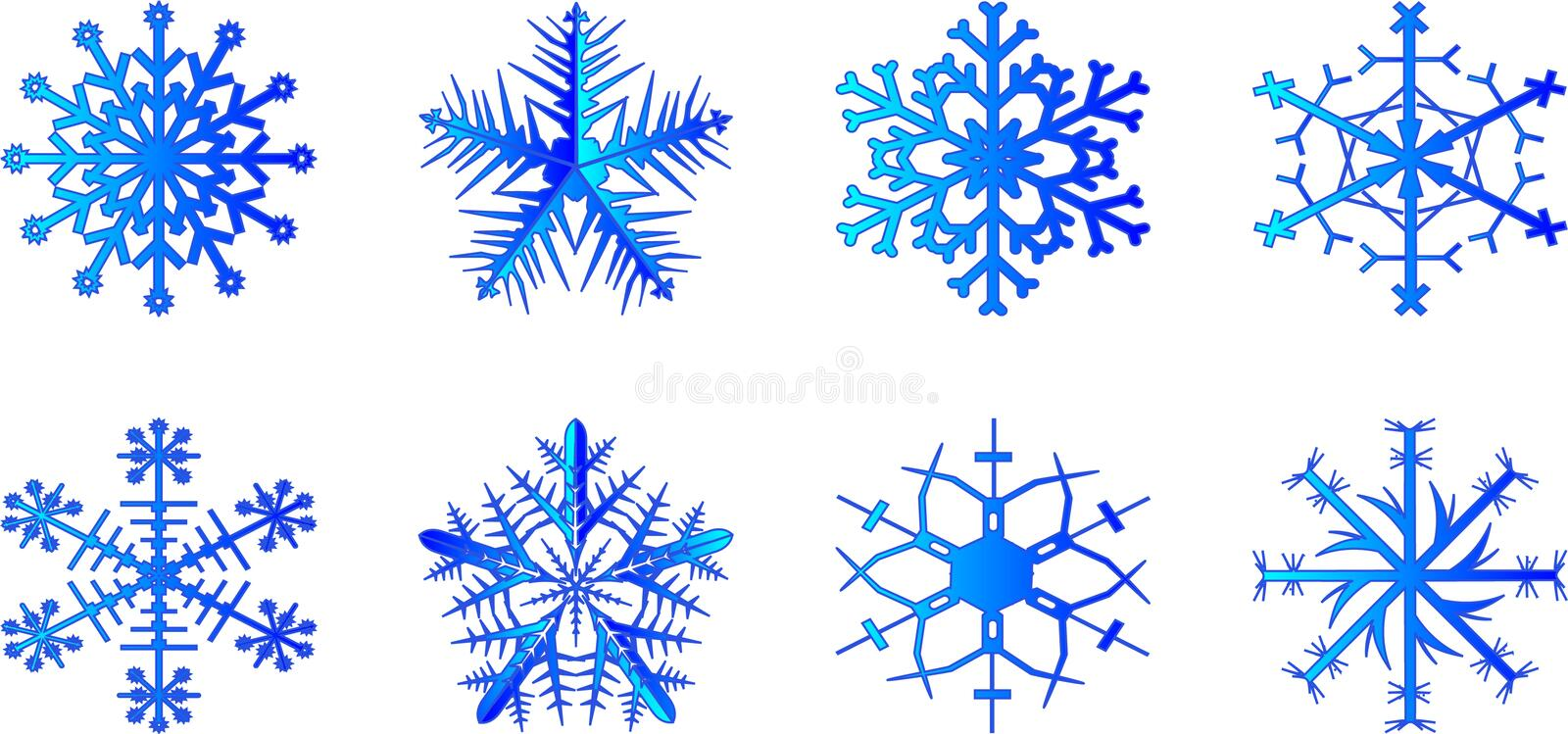 Snowflake. Set of vector snowflakes on a white background stock illustration
