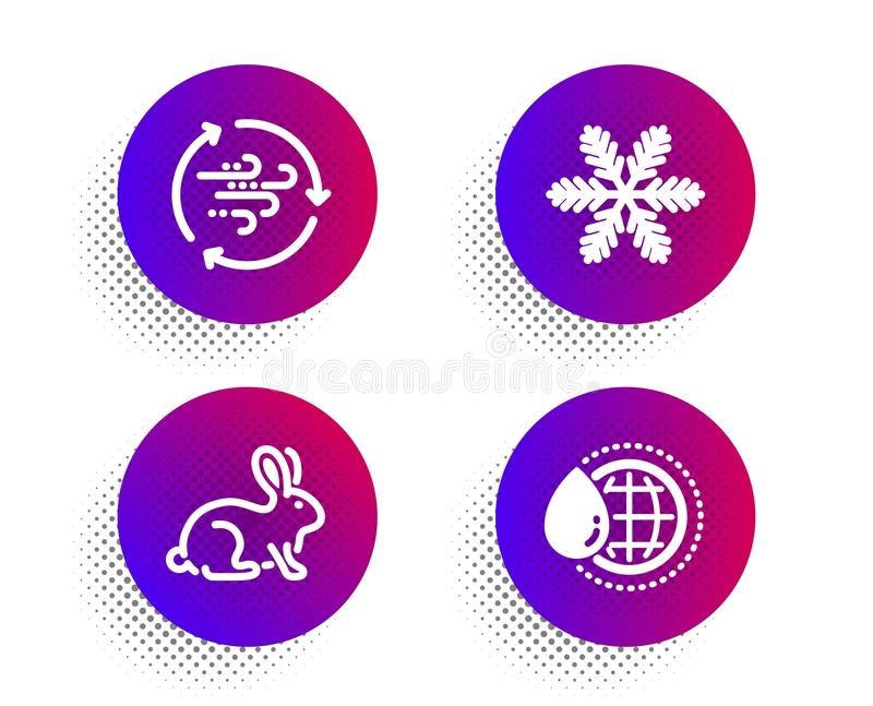 Snowflake, Animal-getestet und Windenergie-Icons Weltwasserschild Vector lizenzfreie abbildung