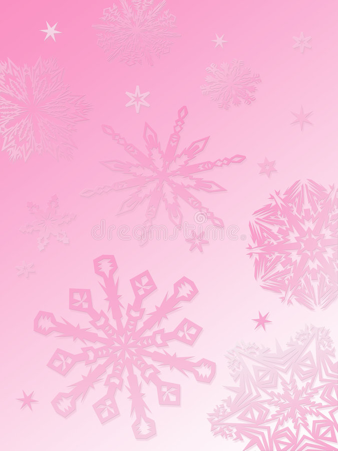Snowflake background-pink. A gradient pink background with various sizes and styles of snowflakes descending into the foreground
