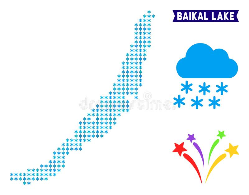 Icy Baikal Lake Map. Snowflake Baikal Lake map. Vector geographic scheme in blue ice colors. Vector composition of Baikal Lake map constructed of ice crystals stock illustration