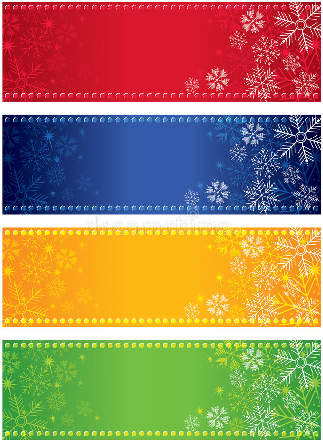 Snowflake Banners. An set of a light coloured snowflake banners, good for Christmas and festive occasions stock illustration