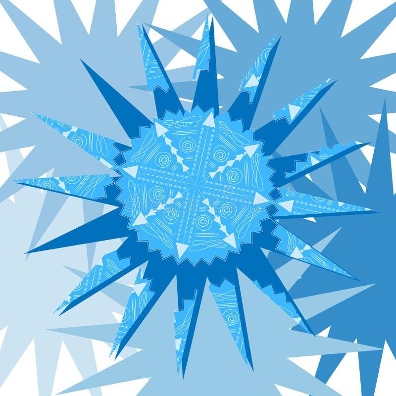 Snowflake on blue background2 stock illustration