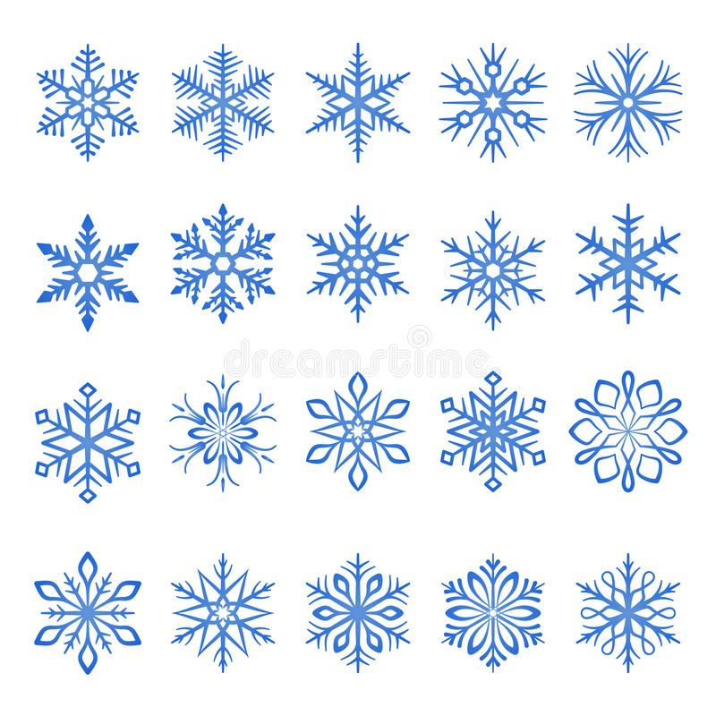 Free Snowflake Blue Line Icons On White Background Stock Images - 159031514