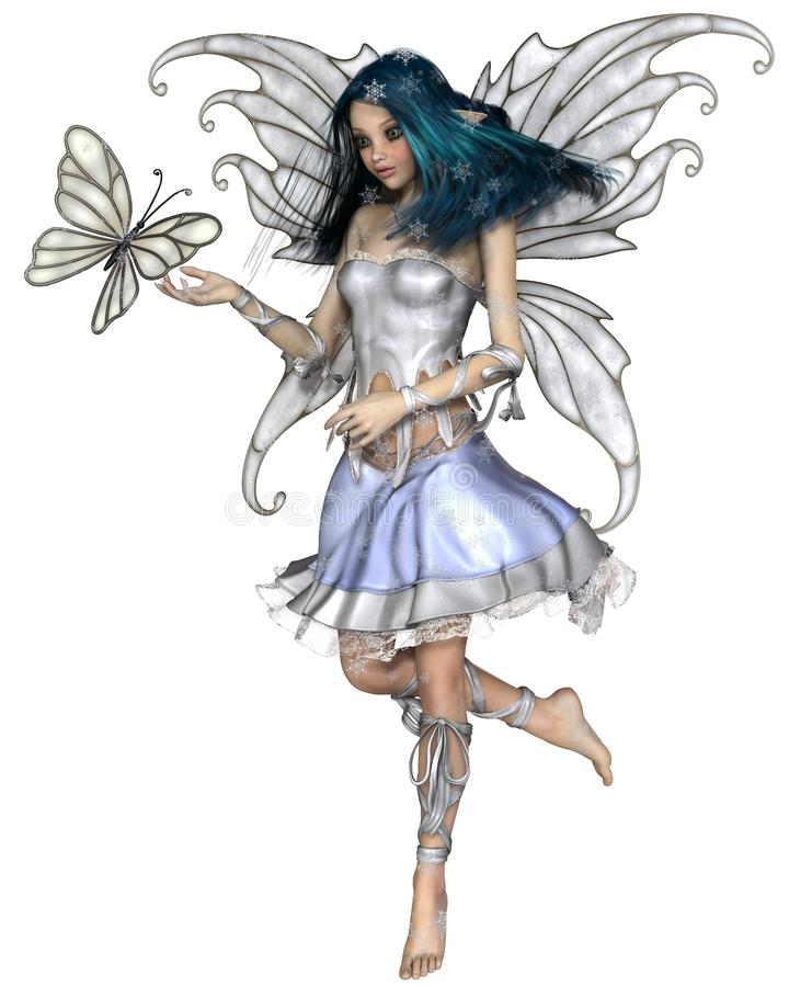 Snowflake Butterfly Fairy. Fantasy illustration of a pretty blue haired fairy with winter snowflakes and white butterfly, 3d digitally rendered illustration stock illustration